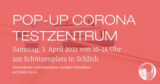 """Ist möglicherweise ein Bild von Text """"POP-UP CORONA TESTZENTRUM Samstag, 3. April 2021 von 10-14 Uhr am Schützenplatz in Schlich Terminfreier und kostenloser Antigen-Schnelltest auf SARS-Cov-2"""""""